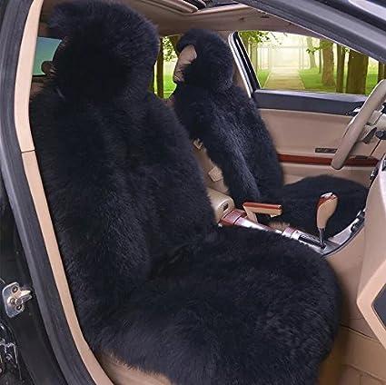 IMQOQ A Pair Genuine Sheepskin Long Wool Car 2 Front Seat Covers Set Winter Warm Universal