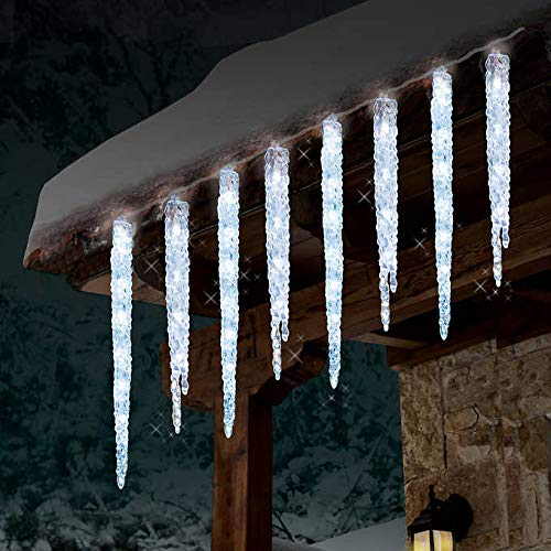 GE 19 Count Twinkling LED Ice Crystal Icicle Set 9 Feet Christmas Holiday Indoor/Outdoor Use (1) ()