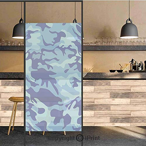 3D Decorative Privacy Window Films,Abstract Camo Navy Military Costume Concealment from The Enemy Hiding,No-Glue Self Static Cling Glass Film for Home Bedroom Bathroom Kitchen Office 24x48 -