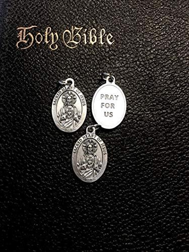 Design Ideas Sacred Heart of Jesus Medal Pray for Us Set of 3 Medals Bracelet or Charm for Rosary Considered Premium Charm