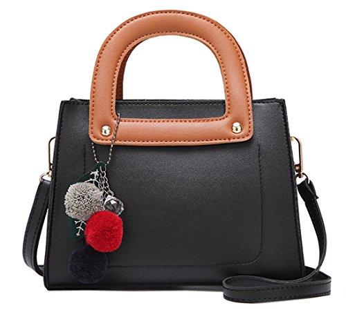 HopeEye mujer Tendencias de la moda Cuero De La Pu Mochila para mujer(gzaspunb05-2-Grey) 1-negro