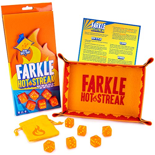 Farkle Hot Streak: Fast, Frenetic Family Dice Game   Set Includes 6 Dice, Premium Bicast Leather Dice Tray, Dice Pouch, and Rules Card with Advanced Scoring