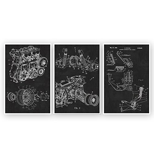 Automotive, Gears and Pedal, Engine, Suspension, Patent Wall Art Patent Poster Set of 3 - - Blueprints - Patent Prints - Poster Art
