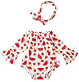 Leapparel Unique Red Watermelon Two Piece Round Neck Long Sleeve Romper Warm Winter Jumpsuit for Girls, Watermelon, 12-24 Months/Size 90