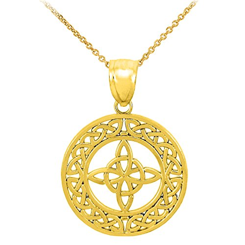 14k Yellow Gold Round Celtic Trinity Knot Pendant Necklace, 18