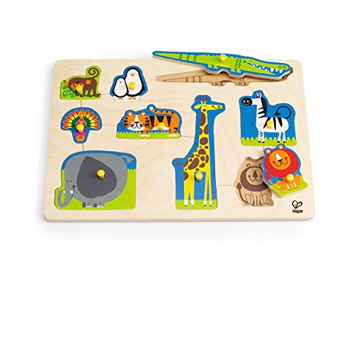 (Hape Wild Animals Toddler Wooden Peg Puzzle)