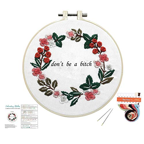 Louise Maelys Cross Stitch Kit Full Range DIY Floral Wreath with Funny Sayimg Embroidery Kit for Beginner