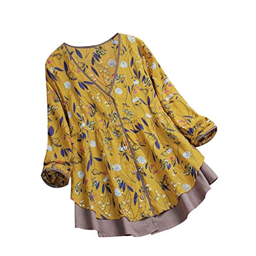 YOcheerful Women Floral Print Top, Lady Plus Size Blouse Patchwork Vintage Blouse Loose Fit Tunic Homewear Shirt Yellow ()