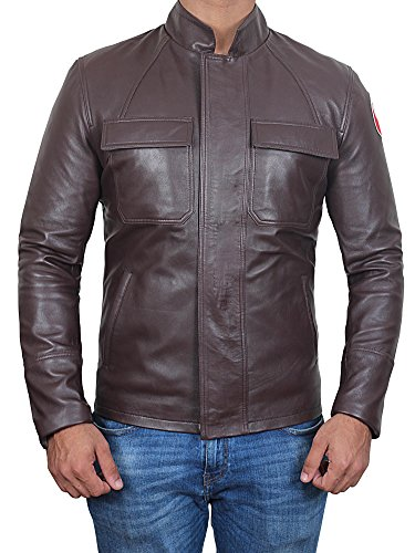 - Decrum Mens Brown Racing Genuine Leather Jacket | Poe 3XL