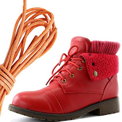Daily Shoe Mujeres Combat Style Lace Up Sweater Top Tobillo Botín Con Bolsillo Para Tarjeta De Crédito Knife Money Wallet Pocket Botas, Orange Red Pu