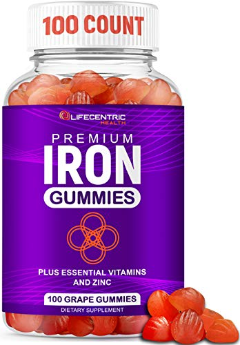 Iron Gummies for Adults and Kids   Biotin Zinc Vitamin B Folic Acid Vitamin Gummies   Vegan Gluten Free Blood Builder…