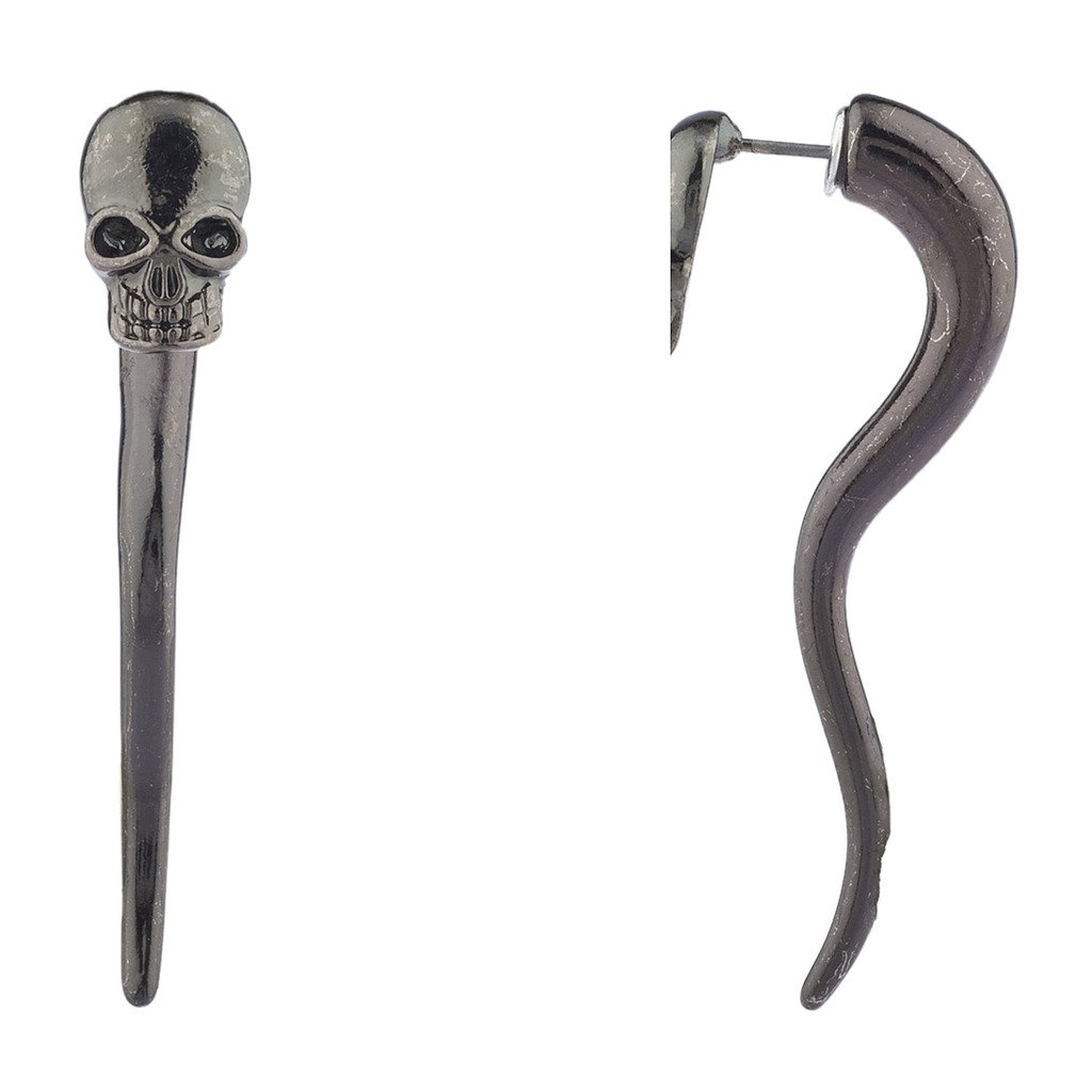 Lux Accessories Hematite Edgy Punk Skeleton Head Tunnel Front Back Earrings E263551-3-E1092