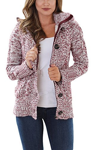 - Asvivid Womens Chunky Hooded Cable Knit Cardigans Comfy Button Down Fall Knitted Sweater Coats Outerwear M Red
