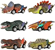 DINOBROS Dinosaur Toy Pull Back Cars, 6 Pack Dino Toys for 3 Year Old Boys and Toddlers, Boy Toys Age 3,4,5 an