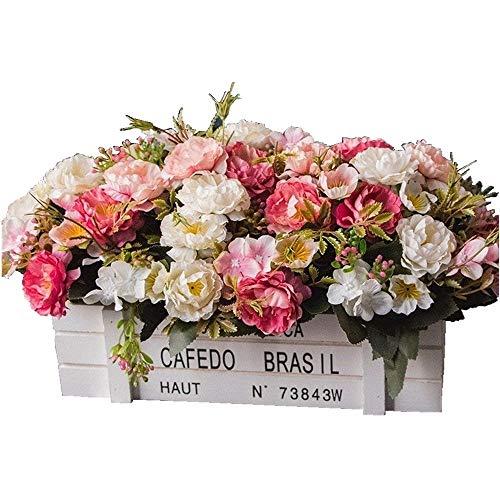 DSPOPEN68 Flores Artificiales Flor Artificial Fiesta De La Boda Cocina Casera Decoracion Diy Madera Valla Pot Blanco Rosa-49