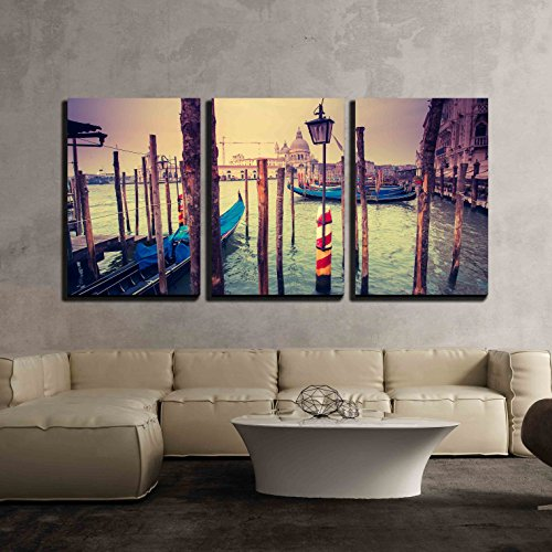 wall26 - 3 Piece Canvas Wall Art - Amazing View of Grand Canal at Sunset in San Marco, Venice, Italy - Modern Home Decor Stretched and Framed Ready to Hang - In Marcos San