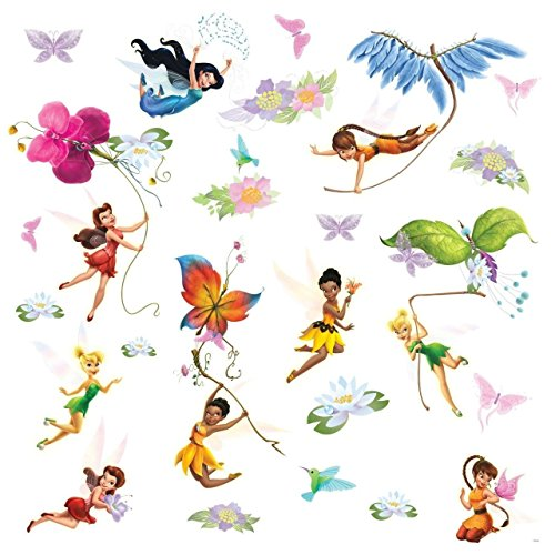 Roommates Rmk1493Scs Disney Fairies Wall Decals With Glitter Wings (Glitter Fairy Wings)