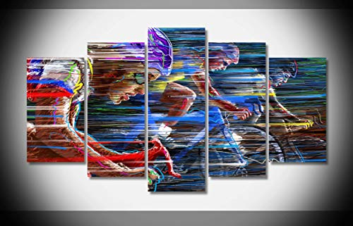 Mcanvas 5pcs Sports Bike Race Speed Color Cycling Vector Canvas Print Wall Art Painting for Home Modern Decoration