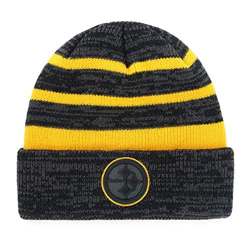OTS NFL Pittsburgh Steelers Male Line Cuff Knit Cap, Black, One Size