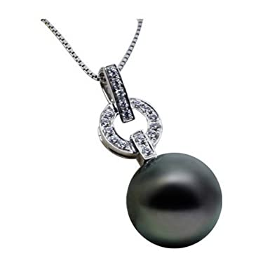 cd2314145c7fa6 Image Unavailable. Image not available for. Color  women s AAA 18 inches  round 13-14mm south sea cultured black pearl necklace ...