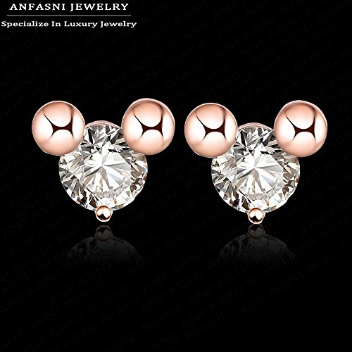 LAPRAPHA Lovely Minnie Mouse Earrings Real 18K Rose Gold Plated Cute Wedding Earrings Inlay Austrian Clear (Cheap Minnie Mouse Ears)