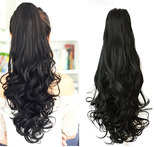 Price comparison product image Ponytail Hair Extensions Natural Black Long Curly With Claw Clip in 24 inches Ponytail Hairpiece Weave Pony Tail Synthetic Hair
