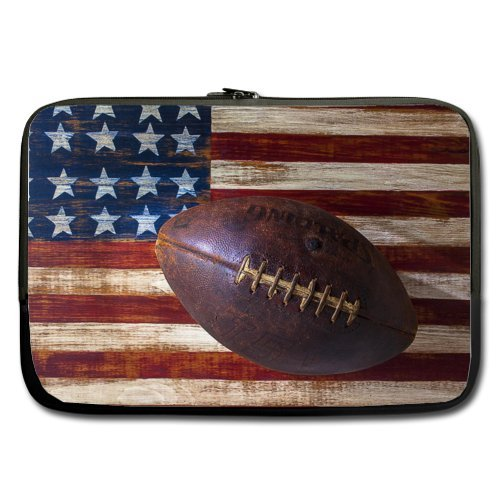 Specially Designed 13 Inch Vintage Old American Football on American Flag Theme Portable Laptop Carrying Case Sleeve Bag for Macbook, Macbook Air/Pro 13