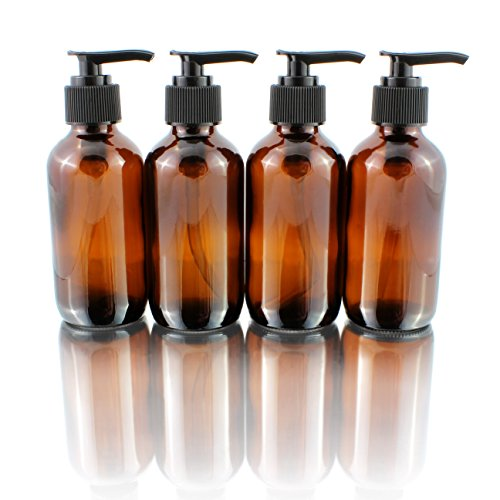 4oz Amber Glass Boston Round Pump Bottles (4 Pack); Great for Lotions, Liquid Soap, Aromatherapy and More