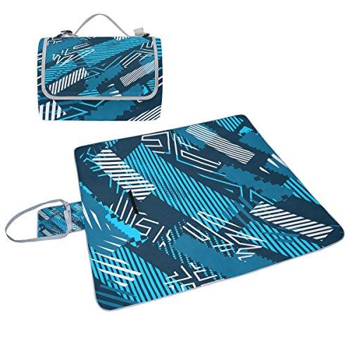 COOSUN Art abstrait Couverture de pique-nique Sac pratique Tapis résistant aux moisissures et étanche Tapis de camping pour les pique-niques, les plages, randonnée, Voyage, Rving et sorties
