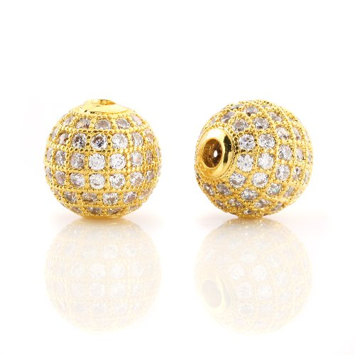 BEADNOVA 18k Gold Plated Clear White CZ Cubic Zirconia Pave Micro Setting Round Beads 10mm (2 ()