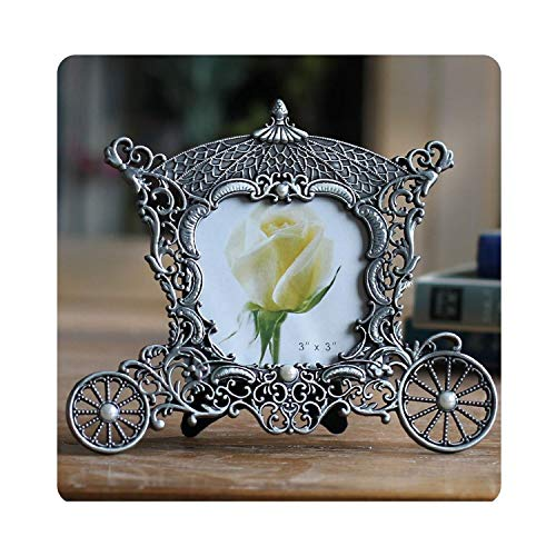 """Vintage Metal Carriage Photo Frame - 3""""x 3"""" Decorative Picture Frames - Great Baby Gift & Wedding Gift-35,Antique Silver,3"""