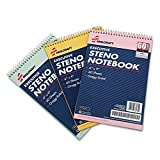 SKILCRAFT 7530-01-454-5702 3 Piece ECF Recycled Steno Pad Pack, 6 x 9 Inch, Assorted Color
