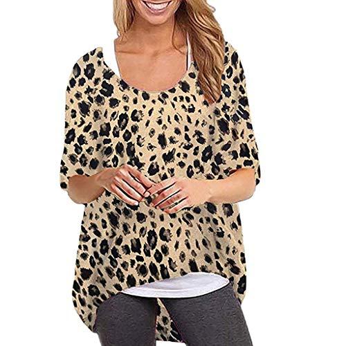 Sttech1 Woman O-Neck Leopard Print Bat Sleeve Short Top Short Sleeve Loose Blouse Brown