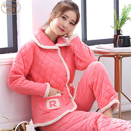 Pantalones Pijamas Invierno Cómodo Casual Franela Suave De Baijuxing Larga Mujer Xl Servicio Coral Domicilio A Cálido Grueso Manga vqXEEdw