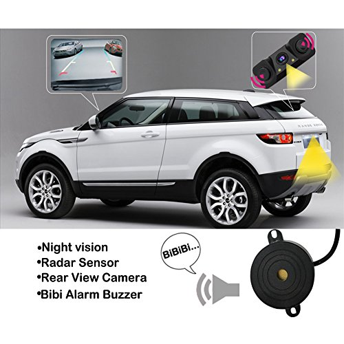 Backup Parking Sensor, Universal Car Parking Assist Sensor System Vehicle Rear View Waterproof Camera Parking Assistance, with Parking & Reverse Safety Distance Scale Lines