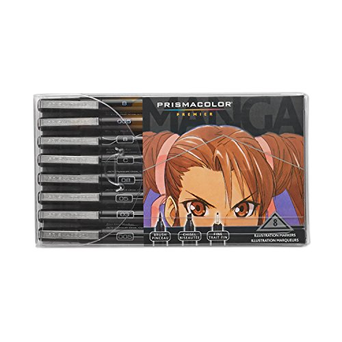 Pen And Ink Drawing Supplies - Prismacolor Premier Manga Illustration Markers, Assorted Tips, Black & Sepia, 8-Count
