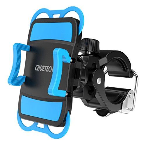 Fahrrad Handyhalterung CHOETECH VerstellbarerFahrrad&Motorrad Handyhalter mit edelstahler Metallschnalle für iPhone 6S/5S, Samsung Galaxy S7/S6 Edge und Andere(360-Grad-Drehung)