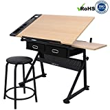Cirocco Height Adjustable Drawing Drafting Table Desk w/ Drawer Chair Stool | Tiltable Board Tabletop Office Workstation Durable Ergonomic Wide Ample Storage for Crafting Reading Painting Writing Art