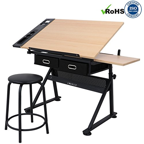 Cirocco Height Adjustable Drawing Drafting Table Desk w/ Drawer Chair Stool | Tiltable Board Tabletop Office Workstation Durable Ergonomic Wide Ample Storage for Crafting Reading Painting Writing Art by Cirocco