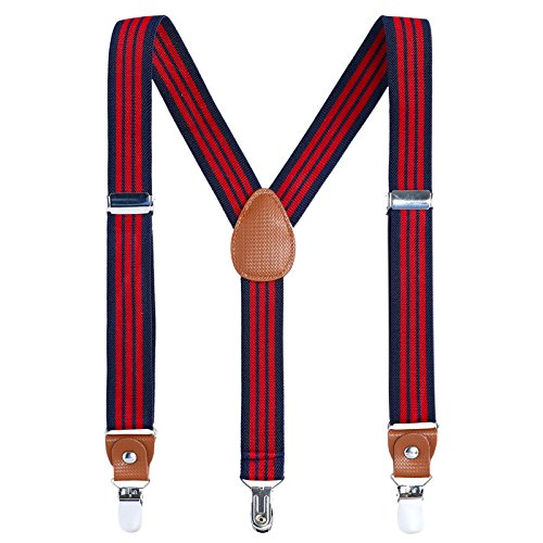 Children Boys and Adults Suspenders - Extra Sturdy Polished Silver Metal Clips, Genuine Leather Crosspatch Perfect for Tuxedo, Navy blue&Red stripe 31 inches (8 Years-5 Feet Tall) ()