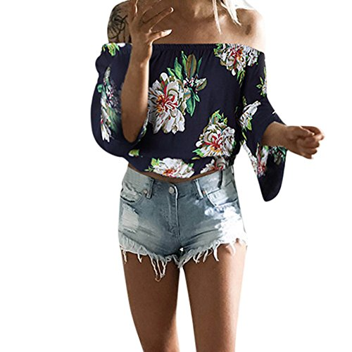 Off The Shoulder Tops,Toimoth Fashion Women Long Sleeve Off Shoulder Loose T-Shirt Casual Blouse Shirt(Navy,M) -