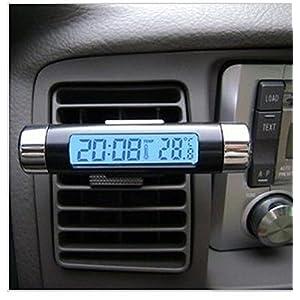 Unho Digital LCD lumière bleue d'écran de voiture Alarme Horloge Thermomètre de grille d'aération de voiture Clip Horloge électronique