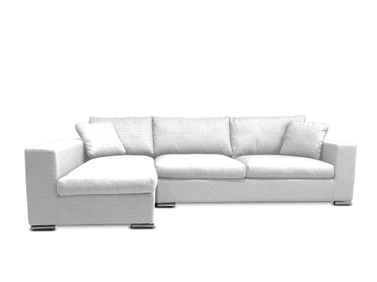 KMP Furniture Coleen Sectional Sofa & Left Chaise Lounge - White
