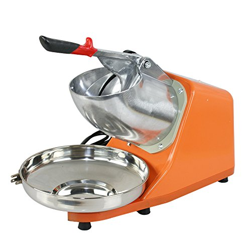 ZENY Ice Shaver Machine Electric Snow Cone Maker Stainless Steel Shaved Ice Machine 145lbs Per Hour (Orange)