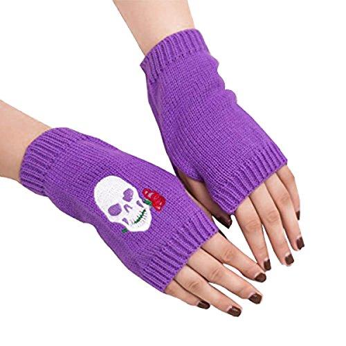 Unisex Knit Fingerless Arm Warmers Skull Jacquard Thumb Hole Gloves Mittens (Purple)