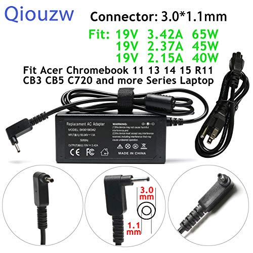 (65W/45W/40W Adapter Charger Power Cord for Acer Chromebook 15 14 13 11 C720 C720P C730 C730E C731 C731T C735 CB3 CB5 CB3-111 CB3-131 CB3-132 CB3-431 CB3-531 CB3-532 CB5-132T CB5-311 CB5-311P CB5-571)