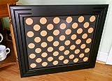 Poker Chip Display Frame Fits 50 Harley-Davidson or Poker chips Black frame Black wood insert Customized frame for poker or Harley chip collectors