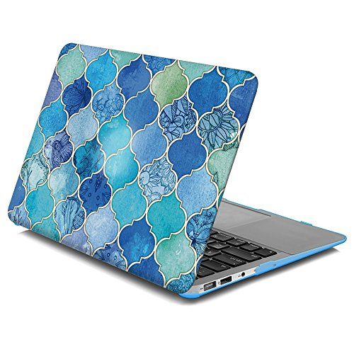 LEEVAN Light Weight Ultra Thin Moroccan Tile Pattern Series Matte Snap-on Plastic Hard Case Cover for Apple MacBook Air 13 inch Model(A1369/A1466) (13