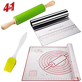Rolling Pins for Baking Combo, Pastry Mat Kit With Chopper/Scraper and Basting Brush, Large 19x23 Inch Reusable Silicone Non-Slip Non-Stick Mat With Fondant/ Dough Measurements/Dough Roller Baking Set 12 ✅PROFESSIONAL PASTRY SET- Pastry dough mat; 15 in rolling pin; (rolling part 7.7 inches)Stainless steel scraper, pastry basting brush for Christmas. ✅EASY TO USE- Multi-purpose reusable fondant mat; Food safe silicone clings to countertop; Easy clean dishwasher safe ✅BETTER CONTROL: Solid Wood Handles and 15 inch non-stick barrel with tapered ends, ensures perfect control over dough