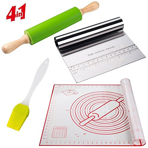 Large Silicone Pastry Baking Mat With Measurements Non-Slip 19x23 +39 Rolling Pins Dough Roller+Stainless Steel Scraper & Chopper.+ Basting Brush Set Bundle